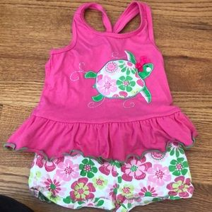 Pink and green tank and short set 3T